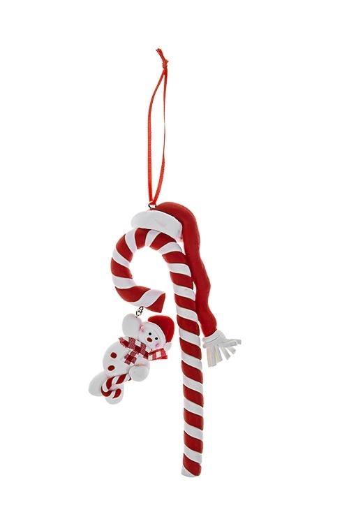 Украшение новогоднее Сладкая трость со снеговикомДекоративные гирлянды и подвески<br>6*15см, пластм., красно-белое, подвесное<br>