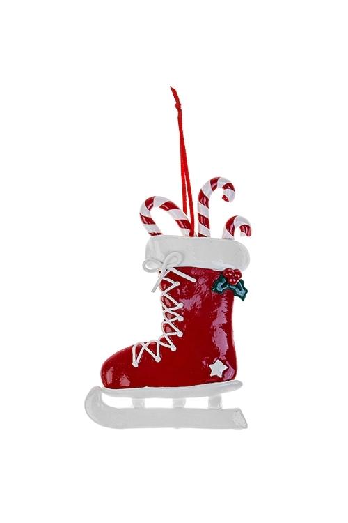 Украшение новогоднее Карамельный конекДекоративные гирлянды и подвески<br>9*13см, пластм., красно-белое, подвесное<br>