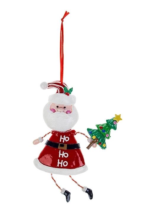 Украшение новогоднее Дед Мороз с елочкойСувениры и упаковка<br>8*14см, пластм., подвесное<br>
