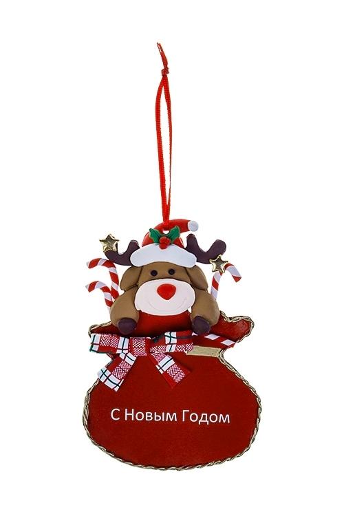 Украшение новогоднее Лосик в мешкеДекоративные гирлянды и подвески<br>8*12см, пластм., металл, подвесное<br>