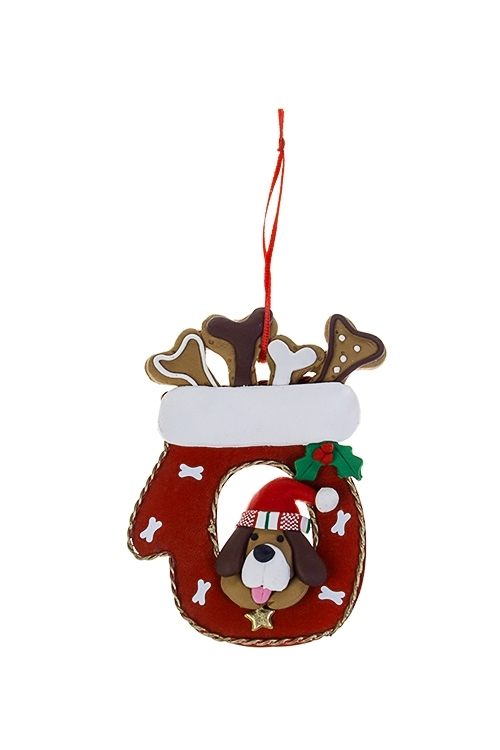 Украшение новогоднее Песик в варежкеСувениры и упаковка<br>8*11.5см, пластм., металл, подвесное<br>
