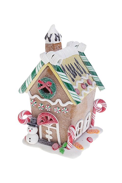 Украшение новогоднее светящееся Пряничный домик снеговикаРождественские украшения<br>9*9*16см, пластм., на батар.<br>