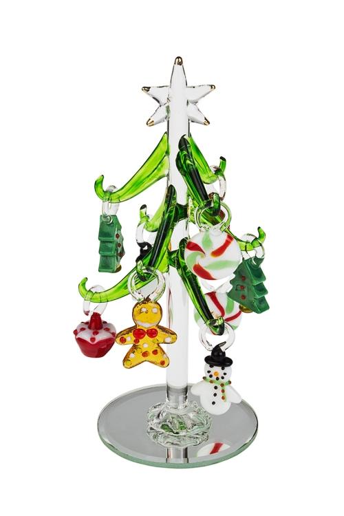 Набор новогодних украшений Елка с игрушкамиДекоративные гирлянды и подвески<br>Выс=15см, стекло, ручная работа<br>