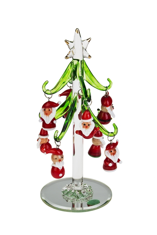 Набор новогодний Елка и Деды МорозыСувениры и упаковка<br>Выс=15см, стекло (зеленая елка, 8 красных игр.), ручная работа<br>