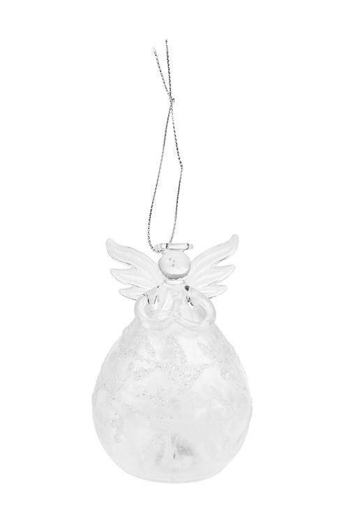 Украшение елочное светящееся Зимний ангелокЗимнее сияние<br>Выс=10см, стекло, прозр., на батар., ручная работа<br>