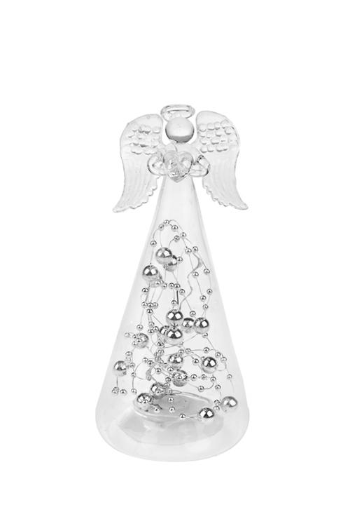 Украшение елочное светящееся Сердечный ангелПодарки<br>Выс=14см, стекло, прозр., на батар.<br>