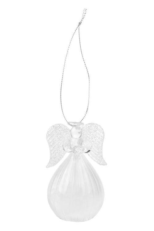 Украшение елочное Нежный ангел с сердцемЗимнее сияние<br>Выс=8см, стекло, прозр.-белое, подвесное, ручная работа<br>