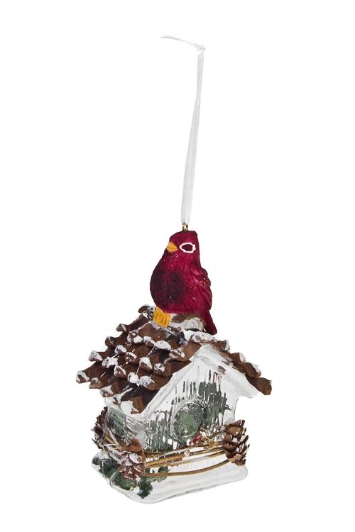 Украшение елочное Ледяной домик с птичкойПодарки<br>Выс=15см, стекло, прозр.-красное, ручная работа<br>