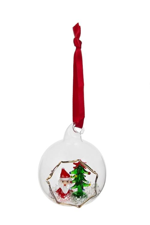 Украшение новогоднее Милый Дед Мороз с елочкойЕлочные шары<br>Д=6см, стекло, подвесное, ручная работа<br>