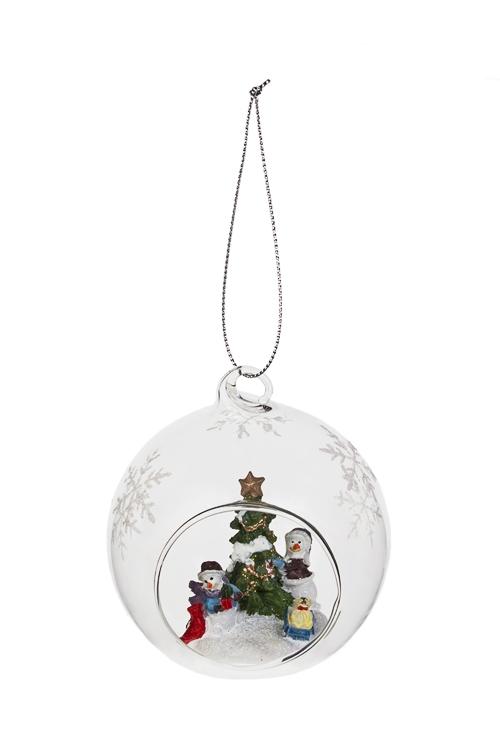 Украшение новогоднее Елочка и друзьяЕлочные шары<br>Д=8см, стекло, подвесное (2 вида), ручная работа<br>