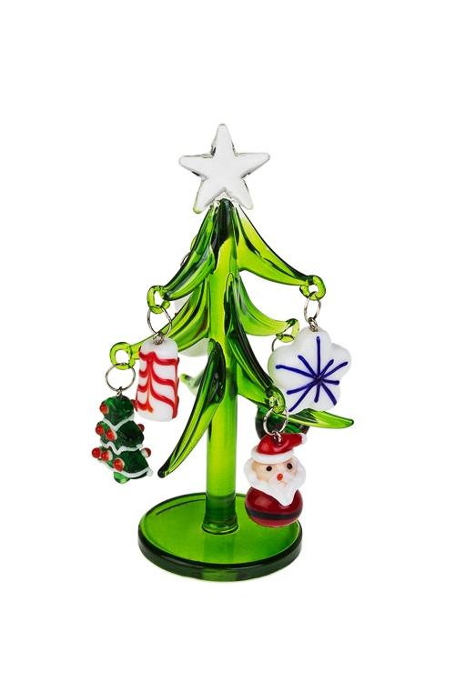 Украшение новогоднее Елочка с символами праздникаПодарки<br>Выс=12см, стекло, ручная работа<br>