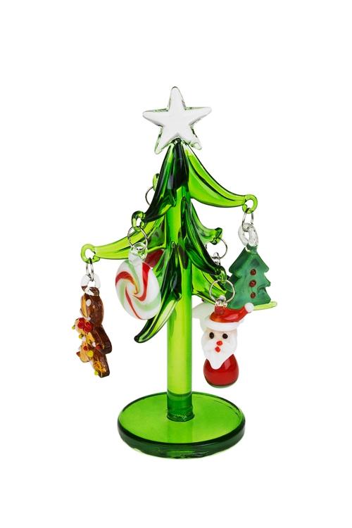 Украшение новогоднее Елочка с игрушкамиПодарки на Новый год 2018<br>Выс=12см, стекло, ручная работа<br>