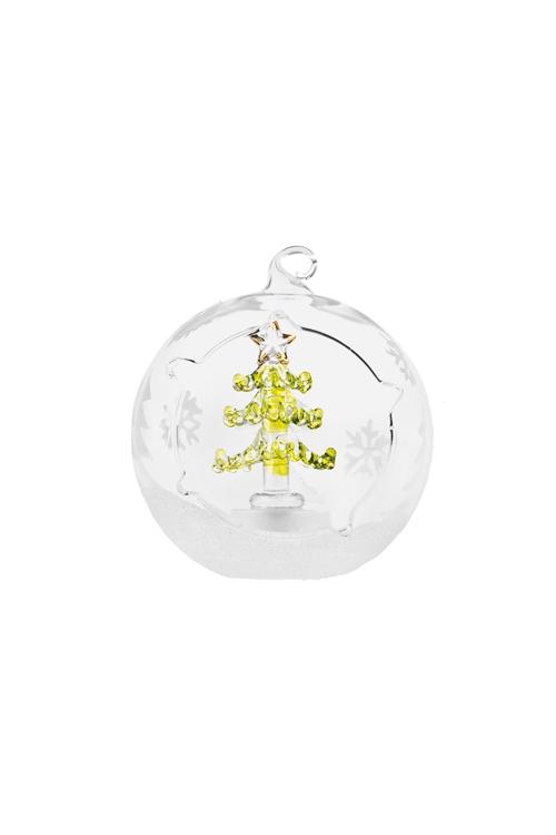 Украшение новогоднее светящееся ЕлочкаПодарки<br>Д=9см, стекло, на батар., ручная работа (2 вида)<br>