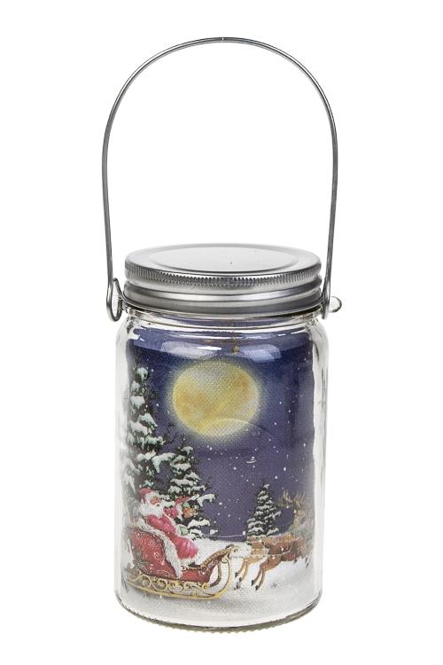 Украшение новогоднее светящееся Оленья упряжка с Дедом МорозомИнтерьер<br>Выс=14см, стекло, на батар.<br>