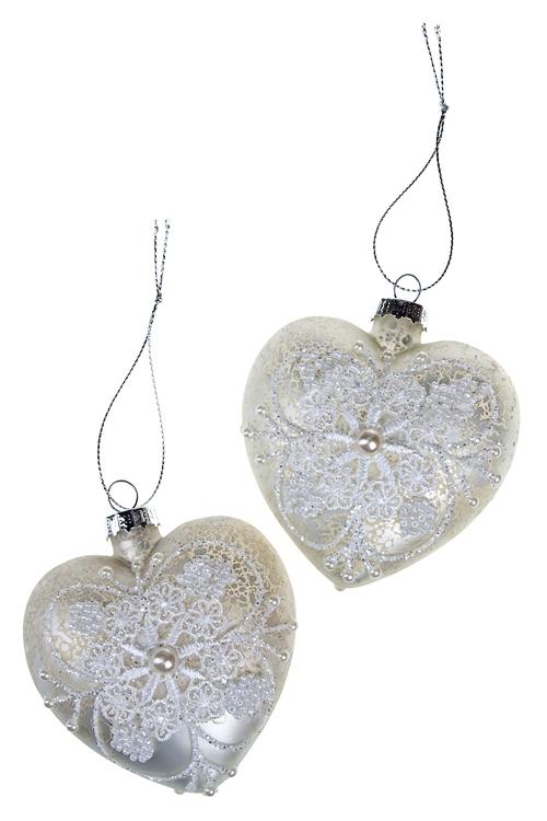 Набор шаров елочных СердцеДекоративные гирлянды и подвески<br>2-предм. Д=8см серо-белый ручная работа<br>