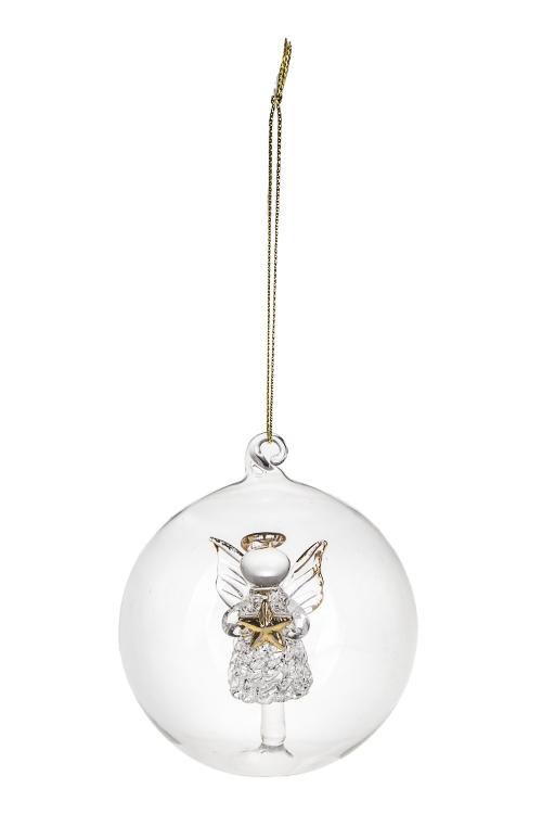 Шар елочный АнгелочекДекоративные гирлянды и подвески<br>Д=8см, стекло, прозр., ручная работа (2 вида)<br>
