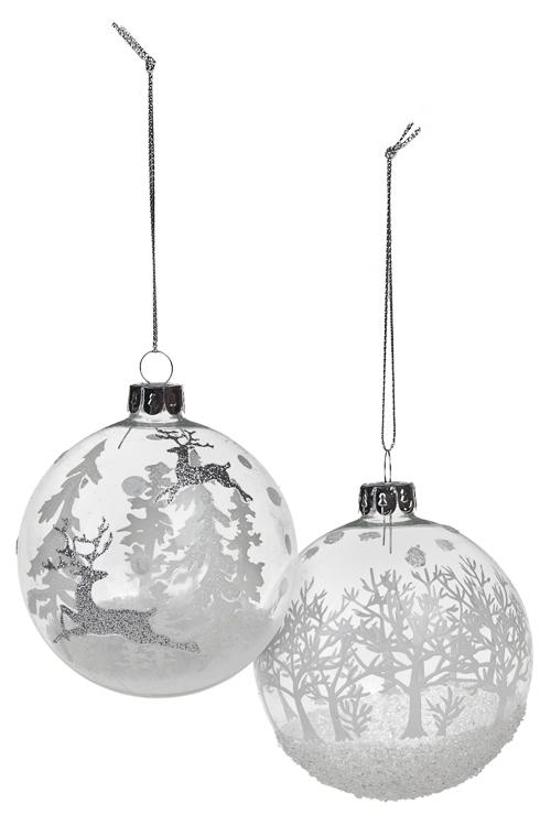 Набор шаров елочных Волшебный лесПодарки<br>Д=8см, стекло, прозр.-белый, ручная работа<br>