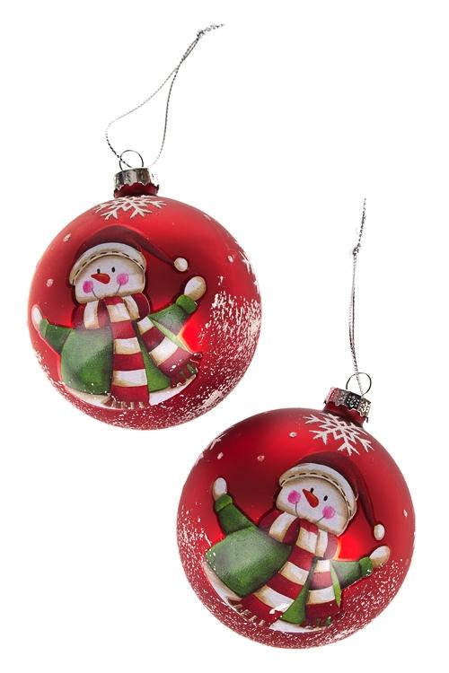 Набор шаров елочных СнеговичокЕлочные игрушки<br>Д=8см, стекло, красно-зеленый, ручная работа<br>