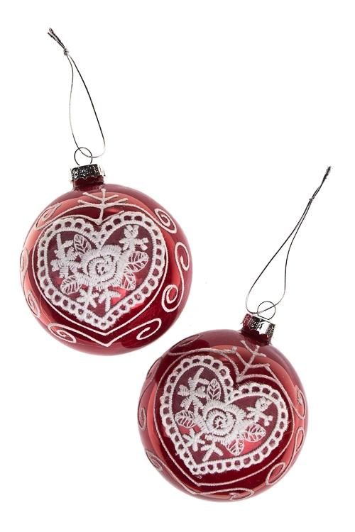 Набор шаров елочных Кружевное сердцеПодарки на Новый год 2018<br>Д=8см, стекло, красный, ручная работа<br>