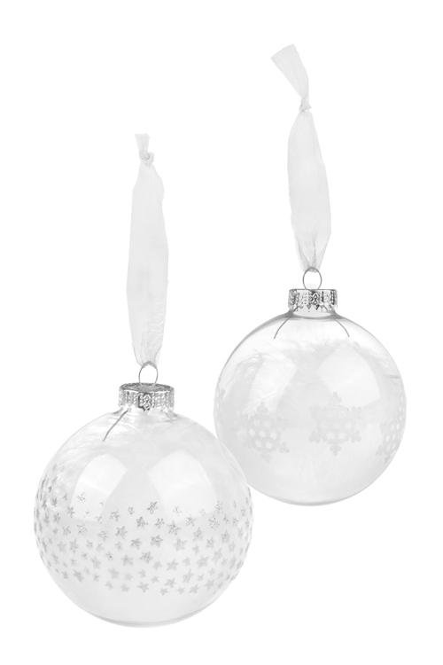 Набор шаров елочных НежностьЕлочные шары<br>2-предм., Д=8см, стекло, бело-серебр., ручная работа<br>