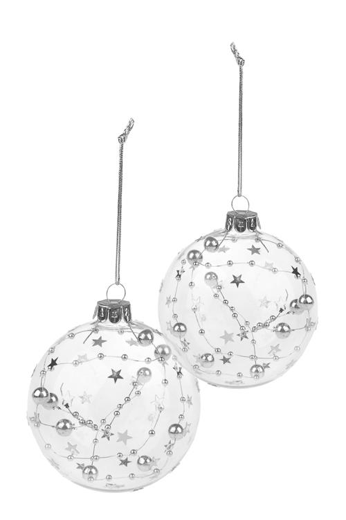Набор шаров елочных СозвездияЕлочные шары<br>2-предм., Д=8см, стекло, прозр.-серебр., ручная работа<br>