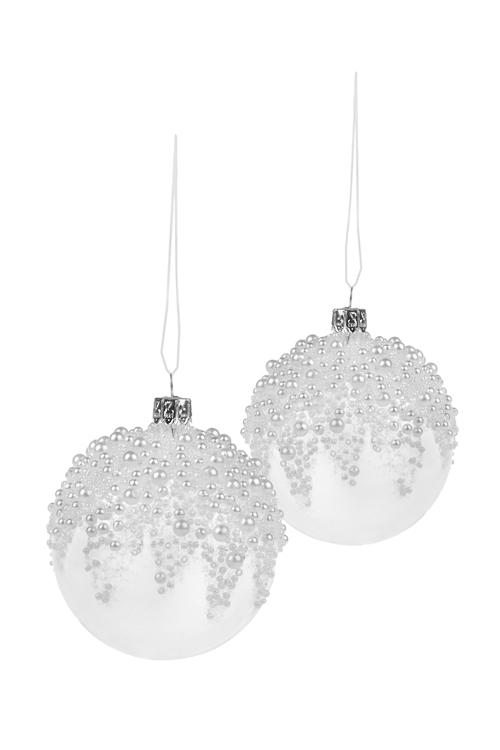 Набор шаров елочных Прекрасные жемчужинкиПодарки<br>2-предм., Д=8см, стекло, прозр.-белый, ручная работа<br>