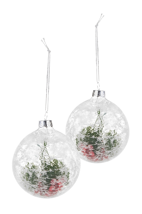 Набор шаров елочных Ледяной шарЕлочные шары<br>2-предм., Д=8см, стекло, прозр.-белый, ручная работа<br>