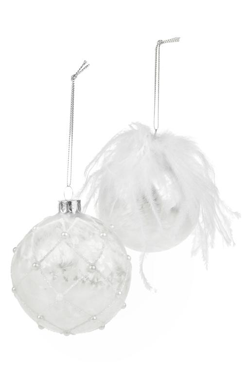 Набор шаров елочных НежностьПодарки<br>2-предм., Д=8см, стекло, жемчужно-белый, ручная работа<br>
