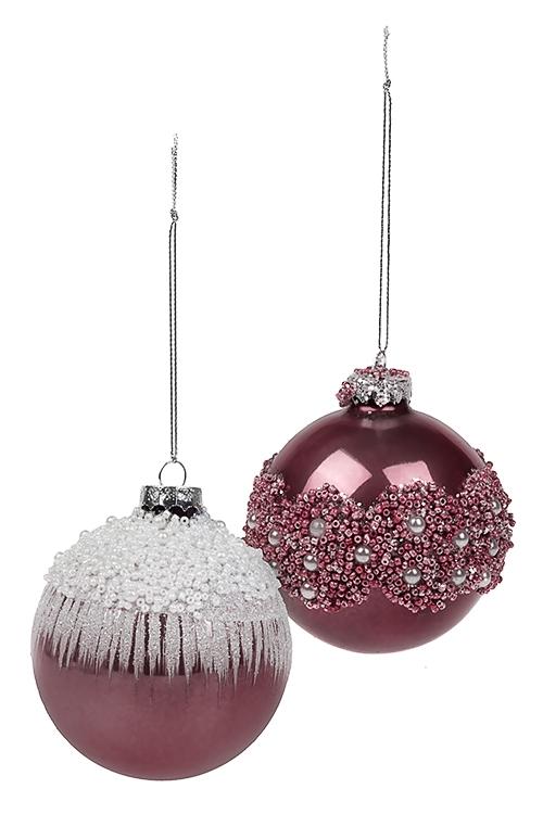 Набор шаров елочных НежностьЕлочные шары<br>2-предм., Д=8см, стекло, бело-розовый, ручная работа<br>