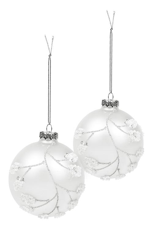Набор шаров елочных Зимние ягодкиЕлочные шары<br>2-предм., Д=8см, стекло, бело-серебр., ручная работа<br>