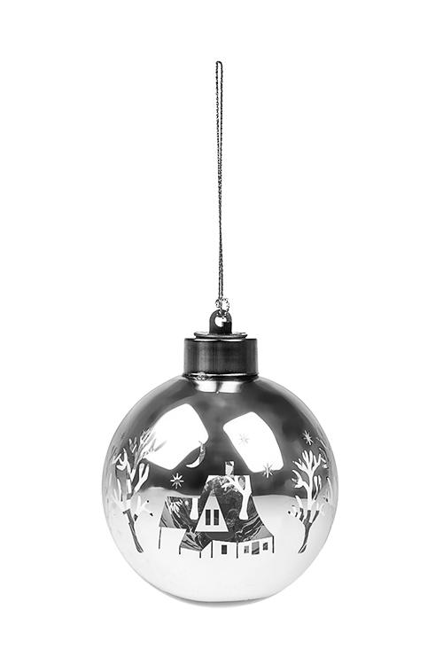 Шар елочный светящийся Зимняя сказкаЕлочные шары<br>Д=8см, стекло, серебр., на батар., (2 вида)<br>