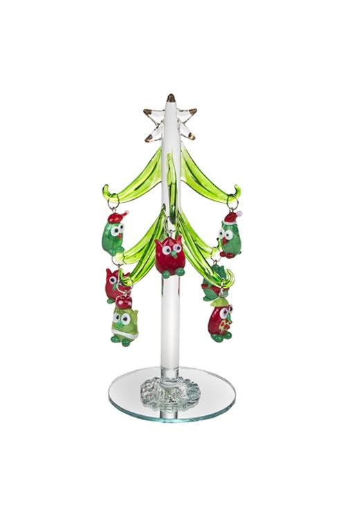 Набор новогодний Елка с совамиНовогодние украшения и статуэтки<br>Выс=15см, стекло (зеленая елка, 7 разноцв. игр.), ручная работа<br>