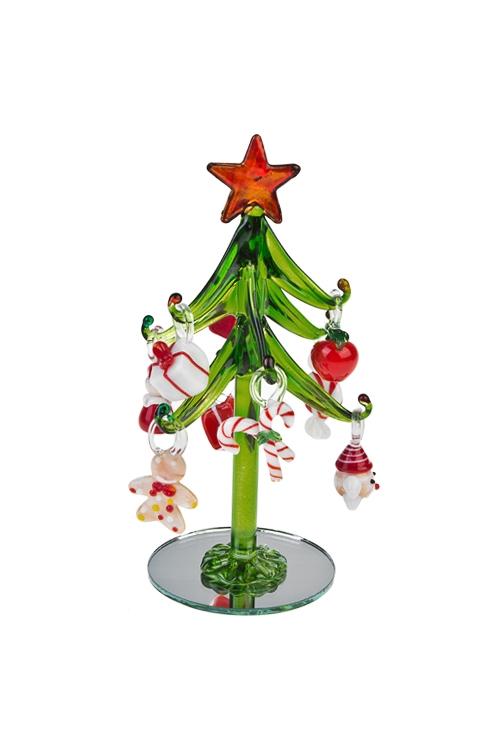 Набор новогодний Праздничная елкаПодарки<br>Выс=15см, стекло (зеленая елка, 9 разноцв. игр.), ручная работа<br>