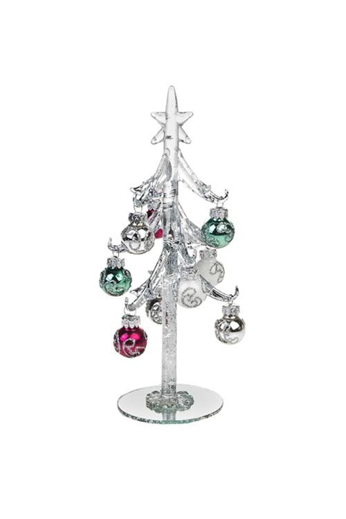 Набор новогодний Серебряная ельПодарки<br>Выс=20см, стекло (серебр. ель, 9 разноцв. игр.), ручная раб.<br>