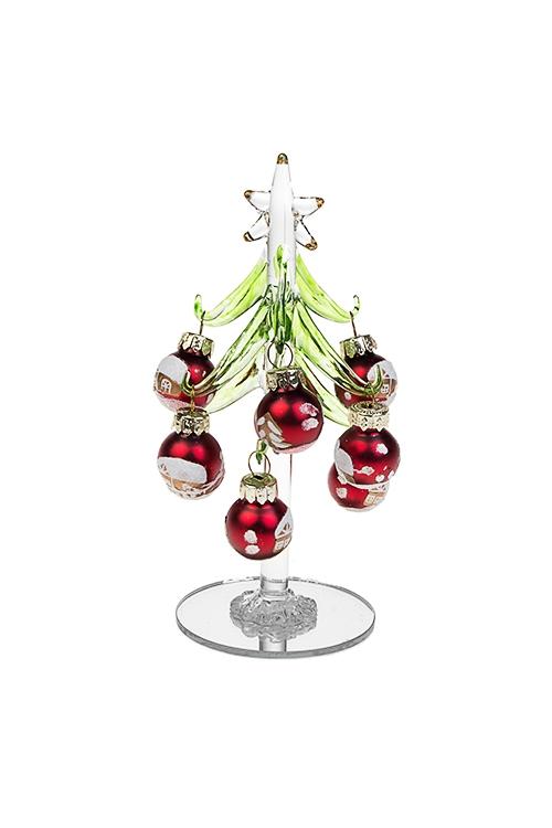 Набор новогодний Рождественская ельПодарки на Новый год 2018<br>Выс=15см, стекло (зеленая елка, 12 разноцв. игр.), ручная работа<br>