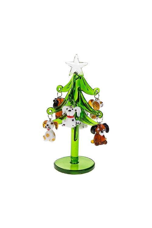 Набор новогодний Елка с собачкамиПодарки на Новый год 2018<br>Выс=12см, стекло (зеленая елка, 6 коричн.-белых. игр), ручная раб.<br>