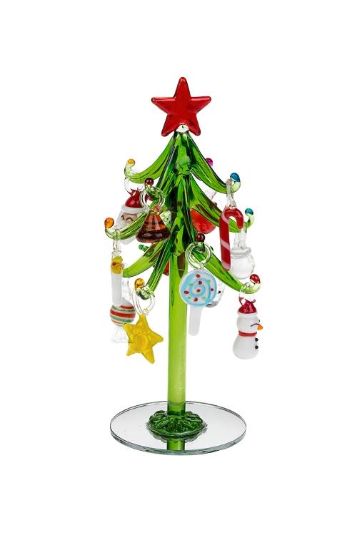 Набор новогодний Праздничная ельПодарки на Новый год 2018<br>Выс=18см, стекло (зеленая елка, 12 разноцв. игр.), ручная работа<br>