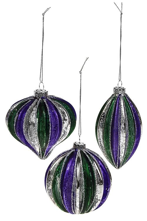 Набор украшений елочных Волшебный праздникЕлочные шары<br>3-предм., Выс=8см, стекло, фиолет.-изумрудный, руч. раб.<br>