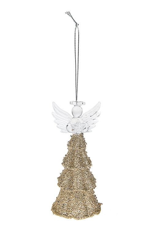 Украшение елочное Прекрасный ангелПодарки на Новый год 2018<br>Выс=12см, стекло, прозр.-золот., подвесное, ручная работа<br>