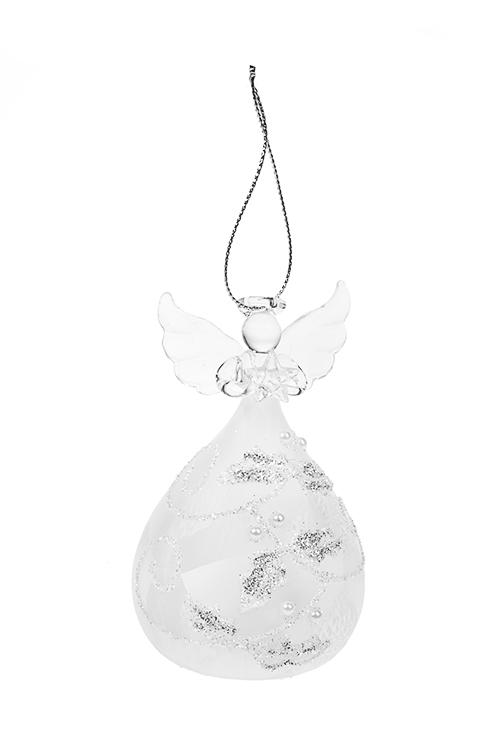 Украшение елочное светящееся Снежный ангелокЕлочные игрушки<br>Выс=10см, стекло, белое, на батар., ручная работа<br>