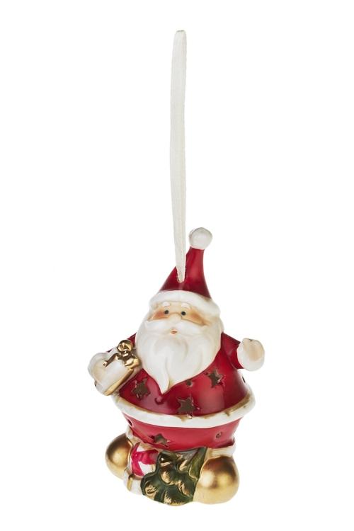 Украшение новогоднее светящ. Смешной Дед МорозПодарки<br>Выс=11см, фарфор (4 вида), на батар.<br>