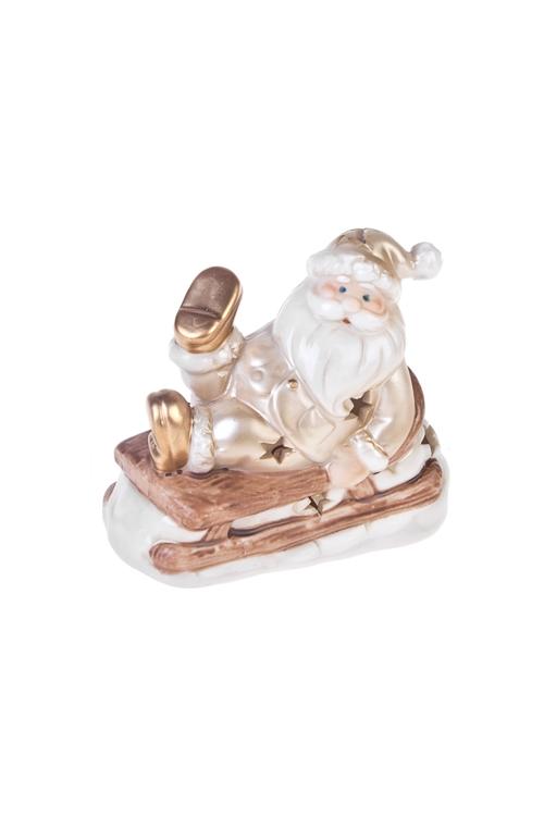 Украшение новогоднее светящееся Дед Мороз на санкахСветящиеся украшения<br>Дл=10см, фарфор, крем.-коричн.-золот., на батар.<br>