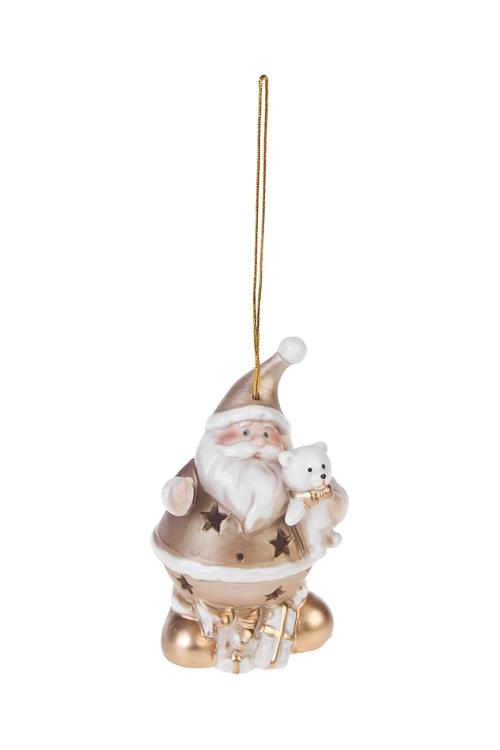 Украшение новогоднее светящееся Дед Мороз с подаркамиСветящиеся украшения<br>Выс=11см, фарфор, бело-золот., на батар. (3 вида)<br>