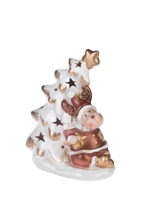Украшение новогоднее светящееся Елочка с лосикомНовогодние сувениры<br>Выс=13см, фарфор, бело-коричн.-золот., на батар.<br>