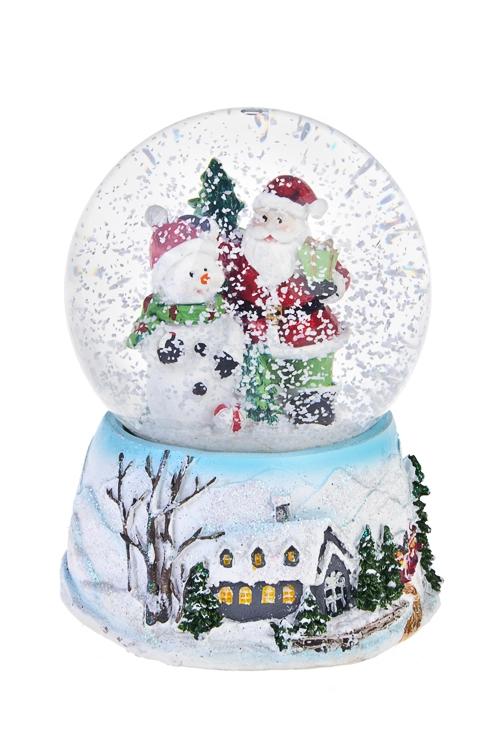 Украшение новог. музык. Шар- Дед Мороз и снеговик у елкиСувениры и упаковка<br>11*15см, полирезин, стекло, механич.<br>