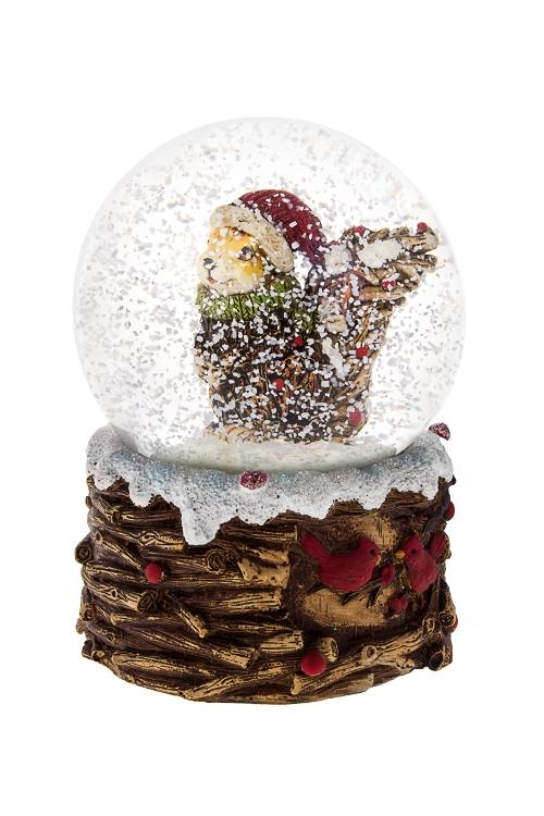Украшение новогоднее музыкальное БелочкаНовогодние сувениры<br>9.5*14см, полирезин, стекло, механич., с жидкостью<br>