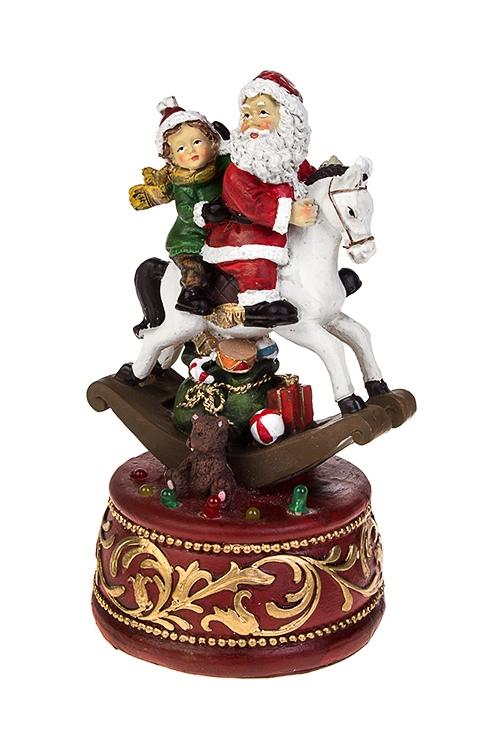 Украшение новогоднее музыкально-светящееся Дед Мороз с малышом на коне-качалкеНовогодние украшения и статуэтки<br>11*20см, полирезин, механич.<br>