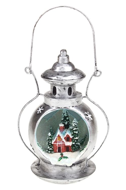 Украшение новогоднее светящееся Лампа - Домик в снегуПодарки<br>Выс=17см, полирезин, подвесное, на батар.<br>