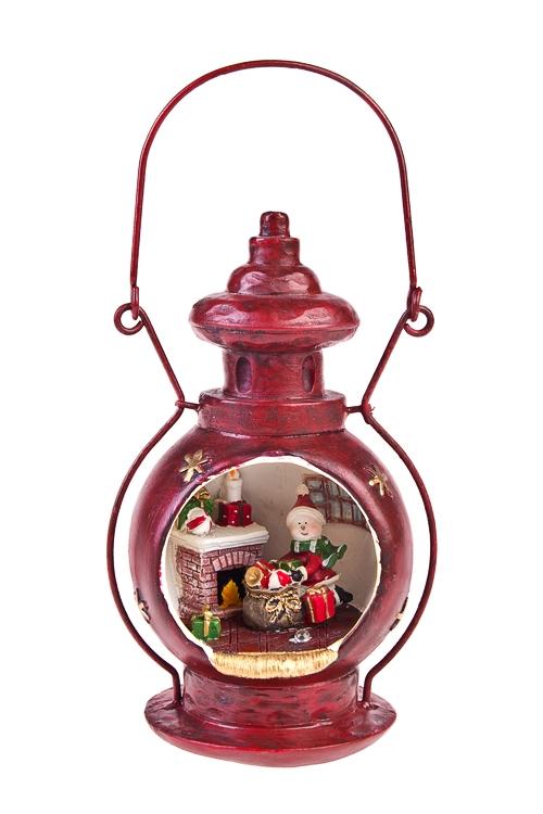 Украшение новогоднее светящееся Лампа - Снеговик с подаркамиСветящиеся украшения<br>Выс=17см, полирезин, подвесное, на батар.<br>