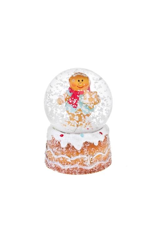 Украшение для интерьера Шар - Пряничный человечекРождественские украшения<br>Выс=7см, полирезин, стекло (2 вида)<br>